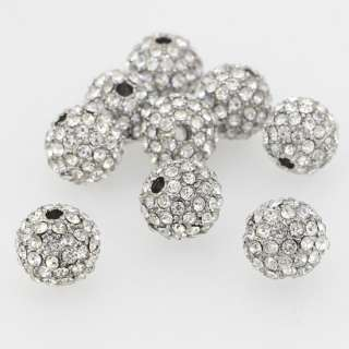 10MM CLEAR AUSTRIAN CRYSTAL RHINESTONE LOOSE SPACER BEADS 5PCS