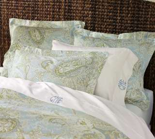 Madeline Paisley King Duvet Cover 2 Euro Shams Blue Green New