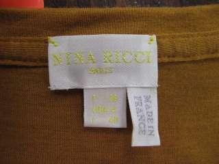 Nina Ricci Rust/Black Lace Trim V Neck Short Sleeve Top 4