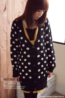 Japanese Fashion Dot pattern Knitted Coat Jacket Winter