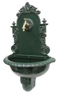 Wandbrunnen ALU Guss Brunnen im Jugendstil grün 7737