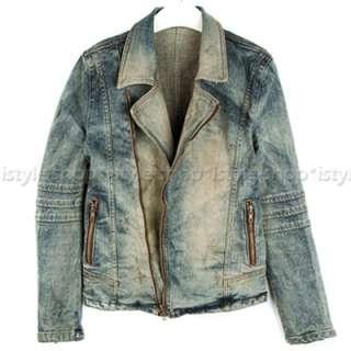 Mens Premium Vintage Jean Motorcycle Rider Denim Jacket