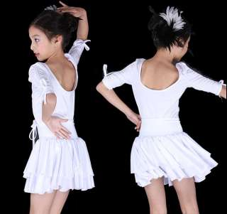 Childrens latin dress girls dancewear #FY019 White