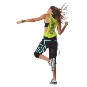 Authentic Zumba New in Package Wonder Cargo Capri Pants Black Size X