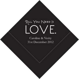 100 LOVE Design Personalized Wedding Cocktail Napkins