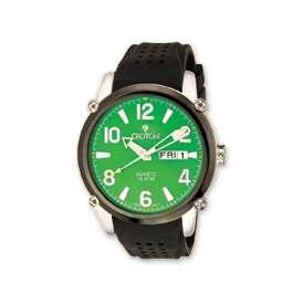 Croton Mens Green Dial Black Silicon Band Quartz Watch