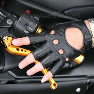 New Mens REAL LEATHER unlined fingerless driving gloves