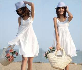 Casual White Womens Lady Round Neck Sleeveless Sundress Vest Mini