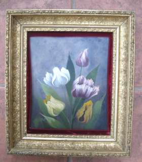 Vintage Deep GOLD Gilt FRAME,Painting,TULIPS,15 1/2 x 13 1/2