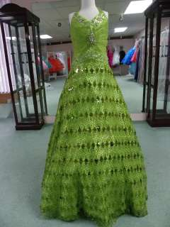 SUGAR 4707 lime size 14 GIRLS NATIONAL PAGEANT DRESS WINNING SEQUIN