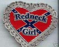 Confederate Flag Redneck Girl Belt Buckle pewter new
