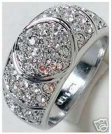Jewellery pretty white crystal ring size 7 10