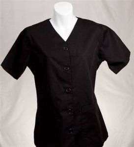 BLACK Button Front Top 4X 4XL 4XLARGE Nursing Scrubs