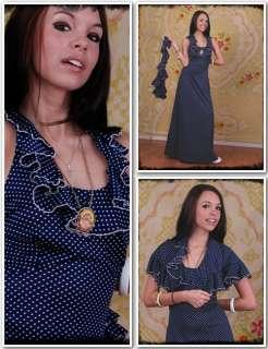 Vintage Navy Ruffled 70s Polka Dot Maxi Halter Dress