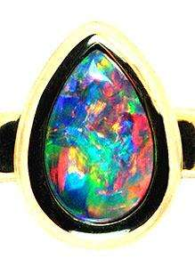 harlequin black opal 14K gold ring floral colors flash Australian rare