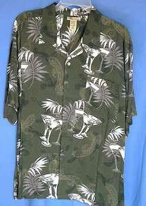 Rayon Short Sleeve Green Print Casual Hawaiian Shirt MEN NWT