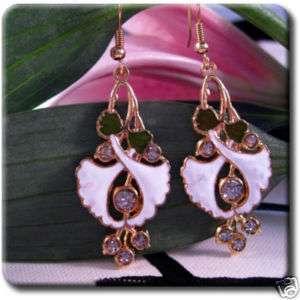 Morning Glory Flower Gold Plated Cloisonne Enamel Dangle Earrings