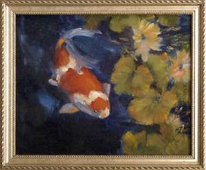 Framed Anne McClure California Arts & Crafts Oil Paintings Koi Fish