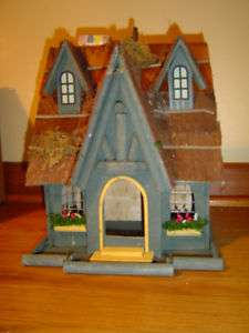 Thatch Roof house Cottage Folk Art Wood Bird house Wooden Decorative