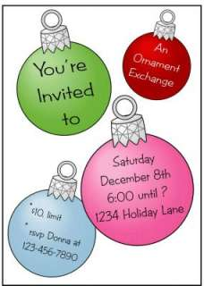 Personalized CHRISTMAS ORNAMENTS Party Invitations