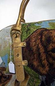 Carpet Travel Overnight Bag Large Tapestry w/ Water Dog NEW