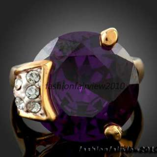 Unique Big Amethyst Swarovski Crystals Engagement Cocktail Fashion