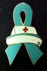 Cap Red Cross Nursing Ovarian Cancer Awareness Lapel Pin New