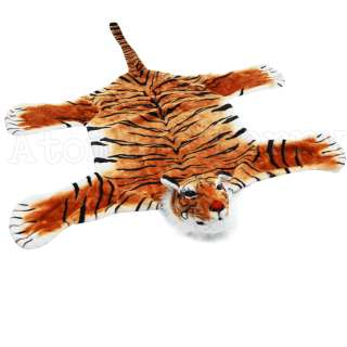 Tiger Floor Rug With Head Kitsch Retro Rockabilly Faux Fur Safari
