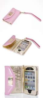luxury Leather and card Bag wallet bag holder Case Cover for iPhone 4