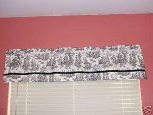 French Country Life Toile Grosgrain Valance Window Treatment