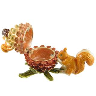 Squirrel w/Pine Cone Bejeweled Trinket Jewelry Box Collectible