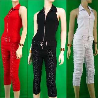 Overall Jumpsuit Elastic Capri Pants Shirring Rhinstones W/Belt