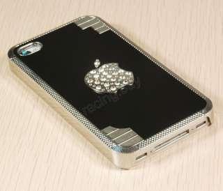 Glitter Case Skin Chrome w/Apple Logo For iPhone 4G 4S 4TH