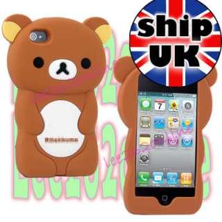 Cute Soft Silicone 3D Rilakkuma Teddy Bear Rubber Case Cover For