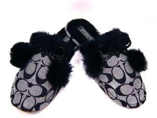 Jayda Signature Fur Slippers House Shoes Gift Black & White 5