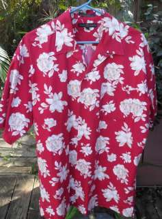 HAWAIIAN SHIRT Large Red Tommy Hilfiger Cotton Floral