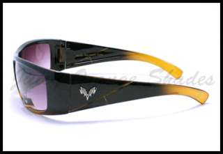 FOX LOGO Mens BIKER STYLE Fashion Sunglasses 2 Tone BLACK/BROWN