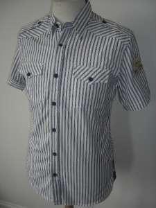 Two Stoned   Mens Shirt White Blue Stripes RRP £50