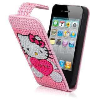 Ecell Design Range   Hello Kitty Pink Leather Bling Flip Case for