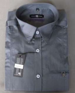 Mens Shirt STONE ROSE LED Charcoal Purple Rivet Collection Button up