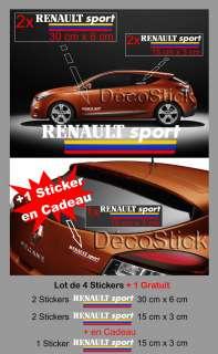 Lot de 5 Stickers Renault Sport Megane Clio Autocollant