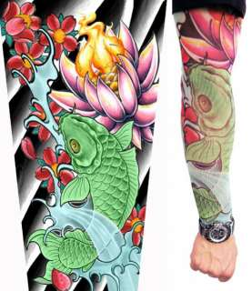 Japanese Koi Fish Punk Gothic Rock Fake Tattoo Sleeve Arm Stockings