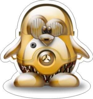 Tux   Linux Penguin C 3P0 Sticker   3.75 x 3.5