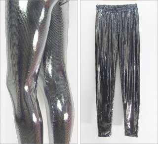 Honeycomb Silver Shiny Metallic Spandex Tights Leggings