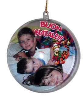 cristmas balls in materiale plastico con riportata la tua immagine