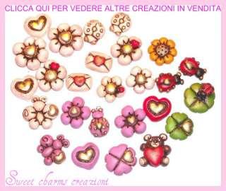 lotto stock 1pz 1€ l uno ciondoli charms fiore margherita cuore fimo