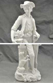 Parian Bisque Porcelain Statue (Boy,Dog,Shovel) German/Japanese