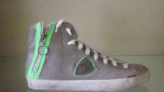 Collezione 2012 Philippe Model BIKE ALTA U GRIGIO/GREEN FLUO