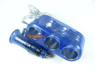 Cigarette Lighter Socket Splitter Adapter Converter GPS Charge Blue