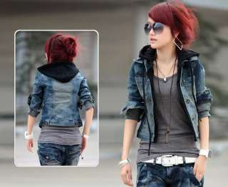 lady worn denim jacket vintage outwear faux 2PC hoodie